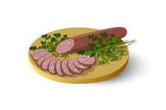 Isolated cutting board with sausage, salami, cold cuts and parsley. Vector illustration Stock Photography