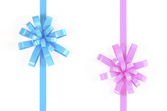 Isolated Cyan and Pink ribbon Royalty Free Stock Photo
