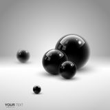 Isolated 3D black spheres Stock Photography