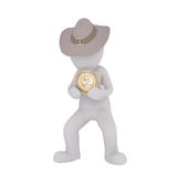 Isolated 3D figure holding golden round badge. And wearing cowboy hat against a white background Stock Photo