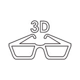Isolated 3d glasses design. 3d glasses icon. Cinema movie video film and media theme. Isolated design. Vector illustration Stock Photography