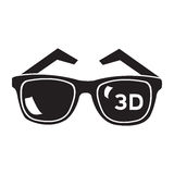 Isolated 3d glasses. On a white background, Vector illustration Royalty Free Stock Photo