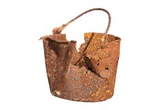Isolated damaged rusty tin Royalty Free Stock Images