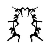 Isolated dancing girls silhouettes illustration. Isolated club dancing girls silhouettes pattern illustration Stock Photo