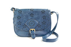 Isolated dark blue woman shoulder bag. Isolated blue girl purse on white background royalty free stock photos