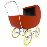 Isolated dark red baby carriage Stock Image