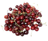 Isolated dark sweet cherries. Sweet cherries on the white background Royalty Free Stock Photography