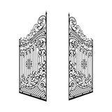 Isolated Decorated Steel Open Gates Illustration.  Stock Photo