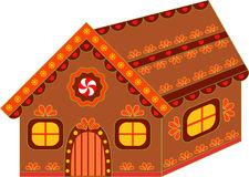 Isolated Decorative Gingerbread House Illustration. Brown orange , yellow and green gingerbread house, Christmas decoration, winter holidays decorative Stock Images