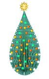 Isolated Decorative Green Christmas Tree. Isolated Decorative Christmas Tree with gold red and green decorations and gold star Royalty Free Stock Images