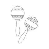 Isolated decorative ornate pair of maracas on white background. Black outline musical instrument. Royalty Free Stock Photography