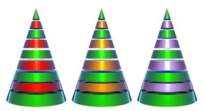 Isolated Decorative Shiny Christmas Trees. With green red and silver elements Stock Images