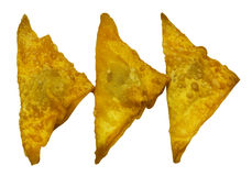 Isolated Deep Fried Wonton with minced pork on white background Stock Photos