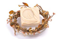 Isolated delicate handmade soap Royalty Free Stock Photo