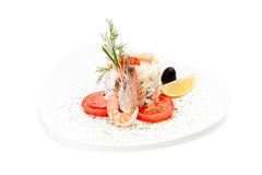 Isolated Delicious Salad with shrimps, tomatoes & fennel. Royalty Free Stock Photos
