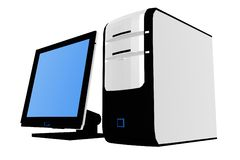 Isolated desktop computer II. 3d render illustration stock illustration