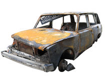 Isolated destroyed car Stock Images