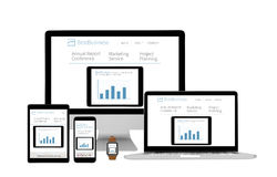 Isolated devices responsive - business website Stock Images