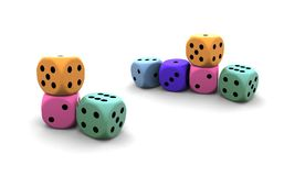 Isolated dices. On white background - 3d render illustration Stock Photos