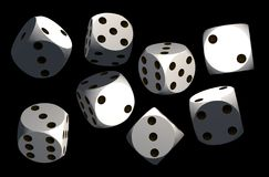 Isolated dices on black background. 3d render illustration Stock Photos