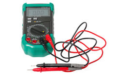 Isolated digital multimeter with probes Royalty Free Stock Photos