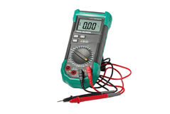 Isolated digital multimeter and probes Stock Photos
