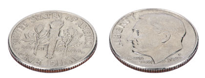 Free Isolated Dime - Both Sides High Angle Royalty Free Stock Photo - 30030855