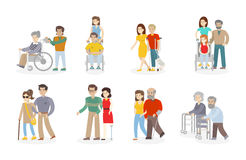 Isolated disability set. Stock Photos