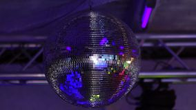 Isolated disco ball on the black background stock video
