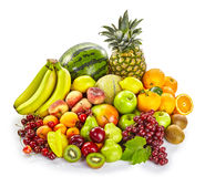 Isolated display of fresh healthy tropical fruit Royalty Free Stock Photos