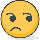 Isolated dizzy face emoticon. Isolated emoticon. Isolated indifference emoticon. Isolated emoticon on white background Stock Images