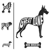 Isolated dog breed silhouettes set with names of Royalty Free Stock Images