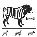 Isolated dog breed silhouettes set with names of Stock Photo