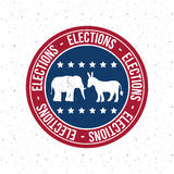 Isolated Donkey and elephant button of vote concept Royalty Free Stock Images