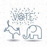 Isolated Donkey and elephant of vote concept Royalty Free Stock Photo