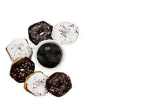 Isolated Donuts and Coffee Royalty Free Stock Images