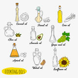 9 isolated doodle cooking oils. Mixed colored and outline set. Sketchy hand drawn vegetable oils. With origin products olive, apricot, corn, grape seed, walnut vector illustration