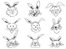 Doodle funny rabbit face head. Isolated doodle funny rabbit face head from white background Royalty Free Stock Photography
