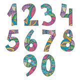 Isolated Doodle Numbers Set Royalty Free Stock Image