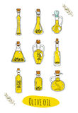 9 isolated doodle olive oils in cute bottles. stock photos