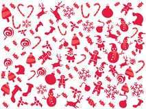 Doodle red color Christmas patterns holiday background stock photography