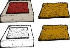 Isolated Door Mat on Step. Isolated coir fiber door mats on over white background stock illustration