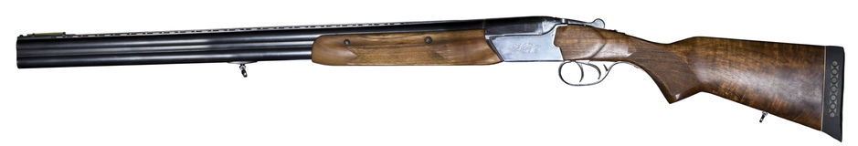 Isolated Double barrel shotgun in profile Royalty Free Stock Photo