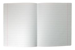 Isolated double sheet lined note paper spread Stock Photos