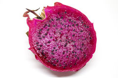 Isolated dragon fruit with fresh cut. Pink pine with sweet flesh Stock Images