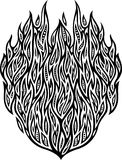 Detailed pattern with fire. Isolated drawing flat black and white abstract pattern with fire Stock Photo