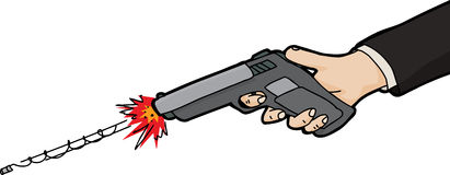 Isolated Drawing of Gun Firing. Firing a bullet from pistol over white background Royalty Free Stock Photos