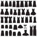 Isolated dress and skirt  silhouette. Vector collection of clothing icons, isolated dress and skirt  silhouette Royalty Free Stock Images