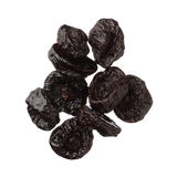 Isolated dried plums over white background, close up Stock Photo