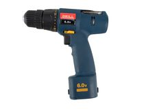 Isolated Drill. Power drill expertly outlined and ready to drop into your design. Other angles of this same object also available Royalty Free Stock Photo